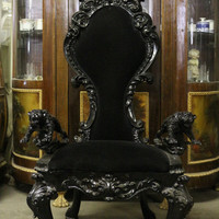Black Gothic Jaguar Throne Chair/Party Accent Chair Tufted Plush Velvet