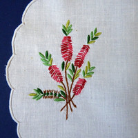 Vintage Callistemon Hand Embroidered Doily by FoxandThomas on Etsy