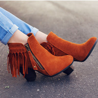 Orion Fringe Booties - Rust
