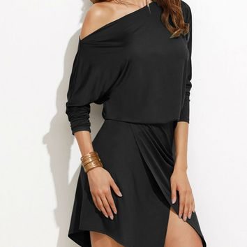 Black One Shoulder Long Sleeve Asymmetric Hem Wrap Dress