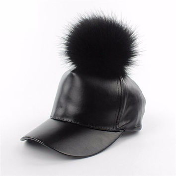 Men Women Black Leather Baseball Cap Adjustable Fur Ball Hat