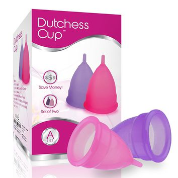 Dutchess Menstrual Cups Set of 2 with Free Bag - Best Feminine Alternative Protection to Cloth Sanitary Napkins