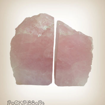 Rose quartz bookends - heavy pink stone - healing crystal - crystal quartz - paperweight - rough rock - mineral quartz - small rubber feet