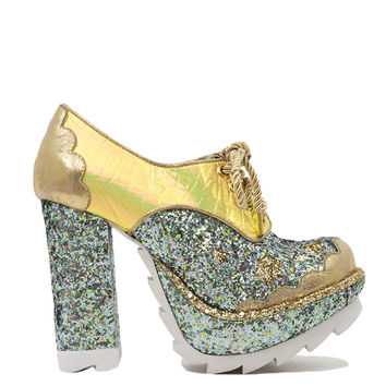Irregular Choice Galaxy Chunky Platform High Heeled Shoes - Hologram Glitter