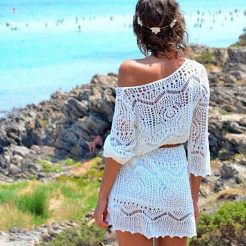Crochet Cutout Beach Cover Up