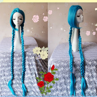 110CM Long Blue Braid LOL New Hero Jinx Cosplay Wig, Costume Wigs for Party UF055