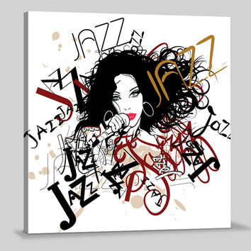 Canvas Prints Type Jazz | Singer Women Drawing Art Canvas | Jung Room Canvas Painting