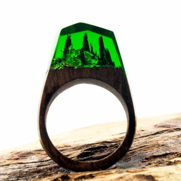 Danze New Design Fashion Natural Landscape Wood Ring Inlay Resin Rings For Women Engagement Wedding Ring Jewelry Dropshipping