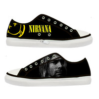 Nirvana Kurt Cobain woman shoes - Size : US 5 6 7 8 9 EUR 36 37 38 39 40