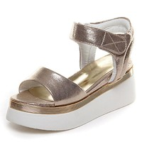 Platform Sandals Gold & Sliver Women Gladiator Sandals Fashion Hook Loop Wedge Shoes