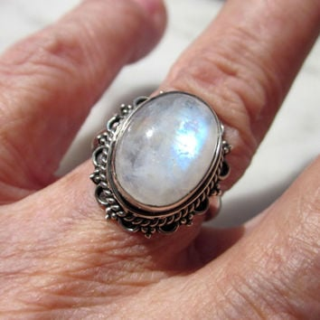 Sterling silver genuine rainbow moonstone ring size 6 1/2 925 blue moonstone June birthstone ring CLEARANCE vintage moonstone rings