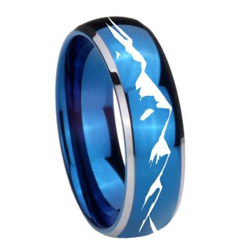 8MM Glossy Blue Dome Sound Wave I love you Tungsten Carbide 2 Tone Laser Engraved Ring