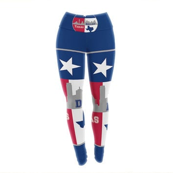 "Bruce Stanfield ""Dallas Texas"" Red Blue Yoga Leggings"