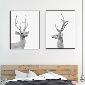 2pcs/set Vintage Retro Animal Elk Deer Head Poster Prints Nordic Style Living Room Wall Art Pictures Home Decor Canvas Paintings