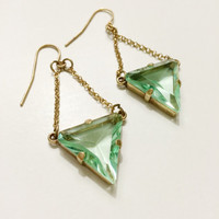 Green Triangle Earrings, Dangle earrings, geometric earrings, statement earrings