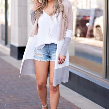 Don't Let Go Color Block Cardigan : Taupe