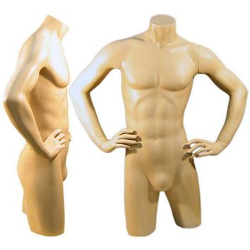 MN-127 Freestanding Masculine Male Torso Form with Arms On Waist