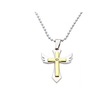 Personalized Cross Angel Wing Pendant Necklace