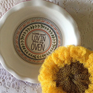 Sunflower Pot Scrubber, 1 Double-Layered Sunflower Scrubby, in Ceramic Mini Pie Plate Bakeware w/  Design - Gift For Her