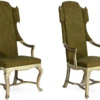 One Kings Lane - Kelly Wearstler: Modern Glamour - Olive Green High-Back Chairs, Pair
