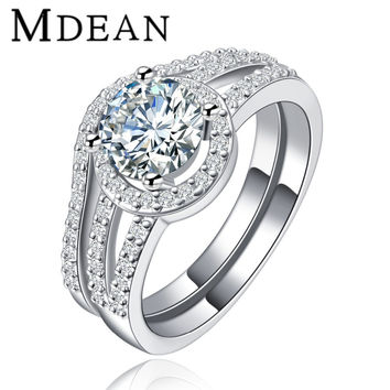 MDEAN White gold plated vintage rings For Women CZ diamond jewelry wedding engagement ring sets fashion bijoux women ring MSR128