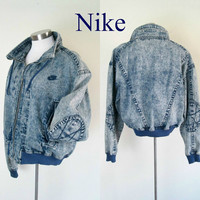 Vintage Nike Denim Bomber Jacket / 1980s Acid Washed Challenge Court / Unisex Outerwear