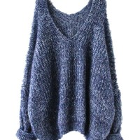 Sheinside® Women's Navy Long Sleeve V Neck Oversize Mohair Sweater (One Size, Navy)