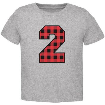 Chenier Birthday Kid Lumberjack Plaid 2 2nd Second Toddler T Shirt