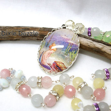 Mermaid cameo necklace, pastel beaded necklace, jade and rhinestone summer fashion,altered art pendant, natural stone beads, pastel jade