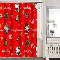 hello kitty merry christmas shower curtain adorabel batheroom and hepp