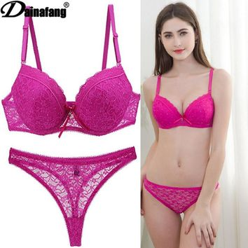 Novelty Lace Drill Bra Set Women Plus Size Push Up Underwear Set Bra And For Female Sexy Thong Set 34 36 38 40 42 BCDE CUPS