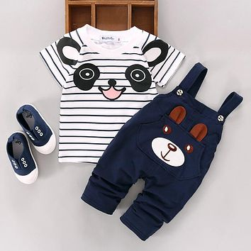 Pudcoco Kids Denim Dungaree T shirt Set For Baby Girls Boys Summer Clothes Bib Overalls Trousers with Braces Cute Design Tees