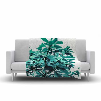 "Mmartabc ""Turquoise Plants"" Green Blue Photography Fleece Throw Blanket"
