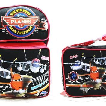 "Disney Planes Boys 16"" Canvas Black & Red School Backpack w/Insulated Lunch Bag"
