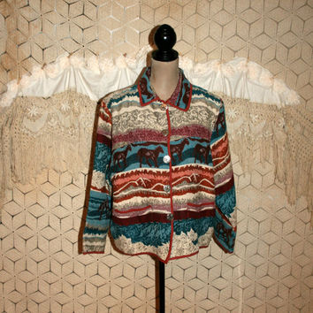 90s Woven Jacket Large Casual Tapestry Jacket Horse Print Cotton Cowgirl Western Southwestern Ranch Wear Jane Ashley Womens Vintage Clothing