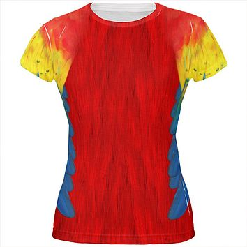 Halloween Scarlet Macaw Parrot Feathers Costume All Over Juniors T Shirt