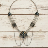 Diamondback Burnished Silver Necklace