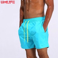 UMLIFE Swim Trunks Men Breathable Sport Swimming Shorts Solid Color Swim Briefs Elastic Waist Beach Shorts Summer Swim Shorts