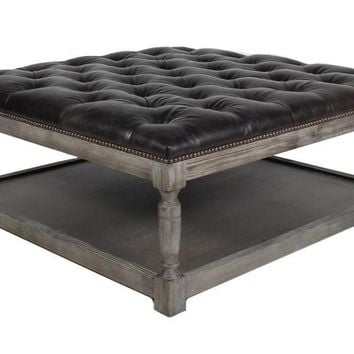 Thomas Square Leather Ottoman
