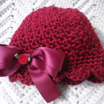 Baby Girl Hat, Crocheted, Beanie, Scalloped Edging, Autumn Red w Satin Bow