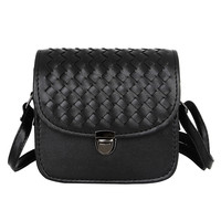 Black Plaid Woven PU Leather Push Lock Messenger Crossbody Bag