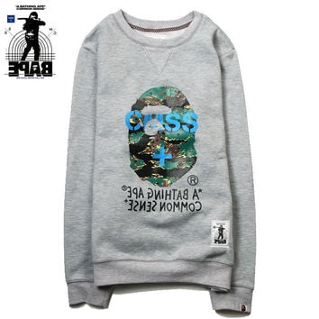 Winter Hoodies Camouflage Print Round-neck Pullover Jacket [10233704263]