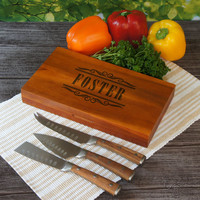 Design's Fabulous Personalized Cutlery Set including 3 Forged Steel Knives with Acacia Handles including Acacia Wood Box with Font Selection