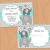 Baby Shower Invitation Elephant Baby Shower Invitation Baby Shower Invites (01a) - Free Thank You Card - editable files - instant download