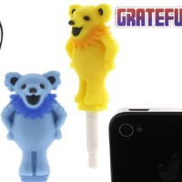 Grateful Dead Charapin Earphone Jack Accessory (Dead Bear/ Blue)