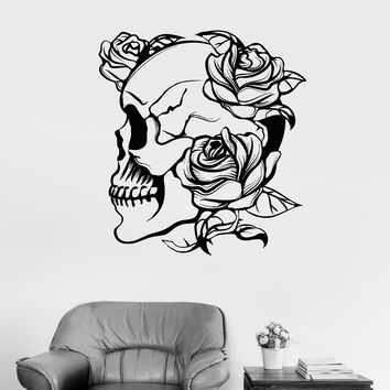 Vinyl Wall Decal Skull Roses Gothic Style Flowers Horror Stickers Unique Gift (977ig)