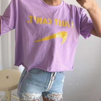 VONE05F Day First No sewing sequins gogo pattern letters T-shirt girl