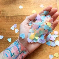 Heart Confetti ... Valentines Day Party Decor . Pastel Rainbow Conversation Heart Cand