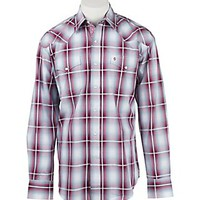 Stetson Men's Red, White, and Blue Plaid Long Sleeve Western Shirt