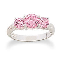 Ring with 3 Pink Cubic Zirconias